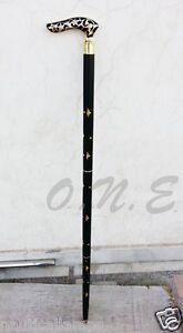 Vintage Antique Style Designer Brass Handle Victorian Wooden Walking Cane Stick
