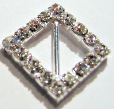 100 Silver Grade A Rhinestone Diamond Ribbon Slider Wedding Buckle 13mm Bar M187