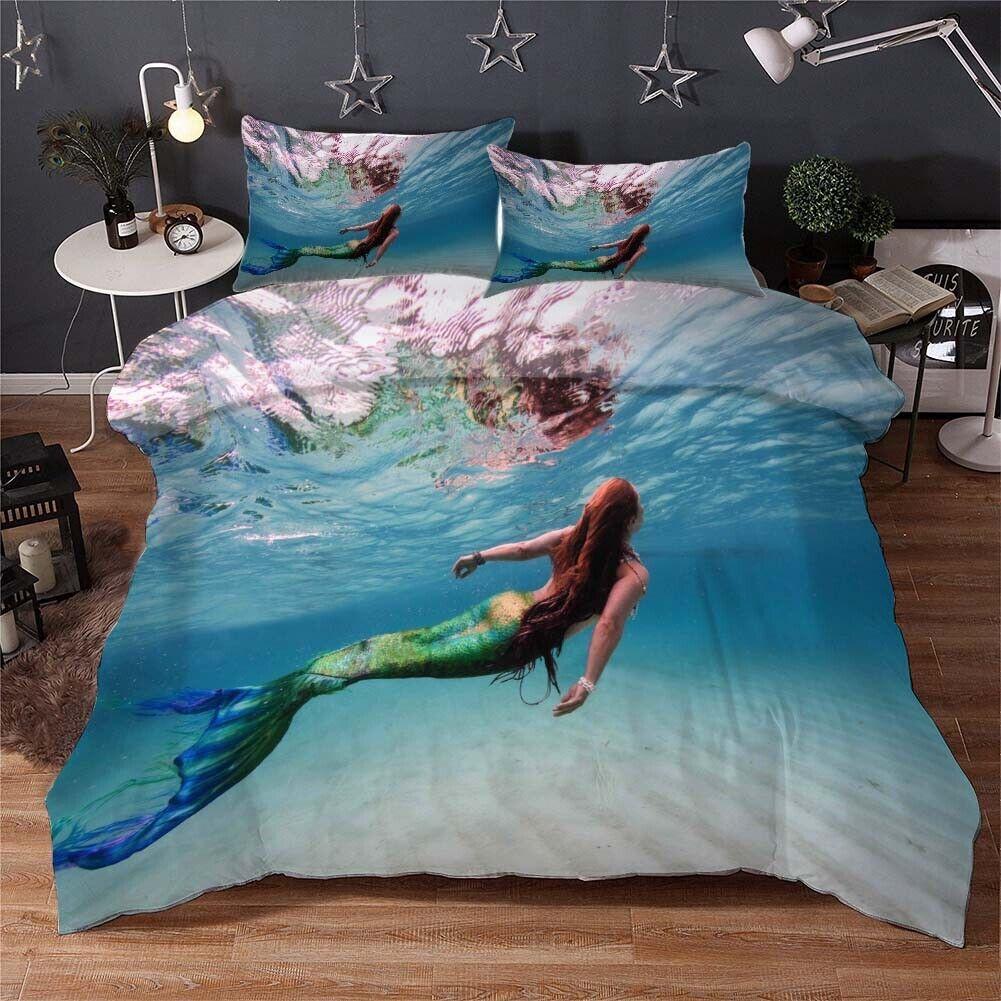 Mermaid Beautiful 3D Printing Duvet Quilt Doona Covers Pillow Case Bedding Sets