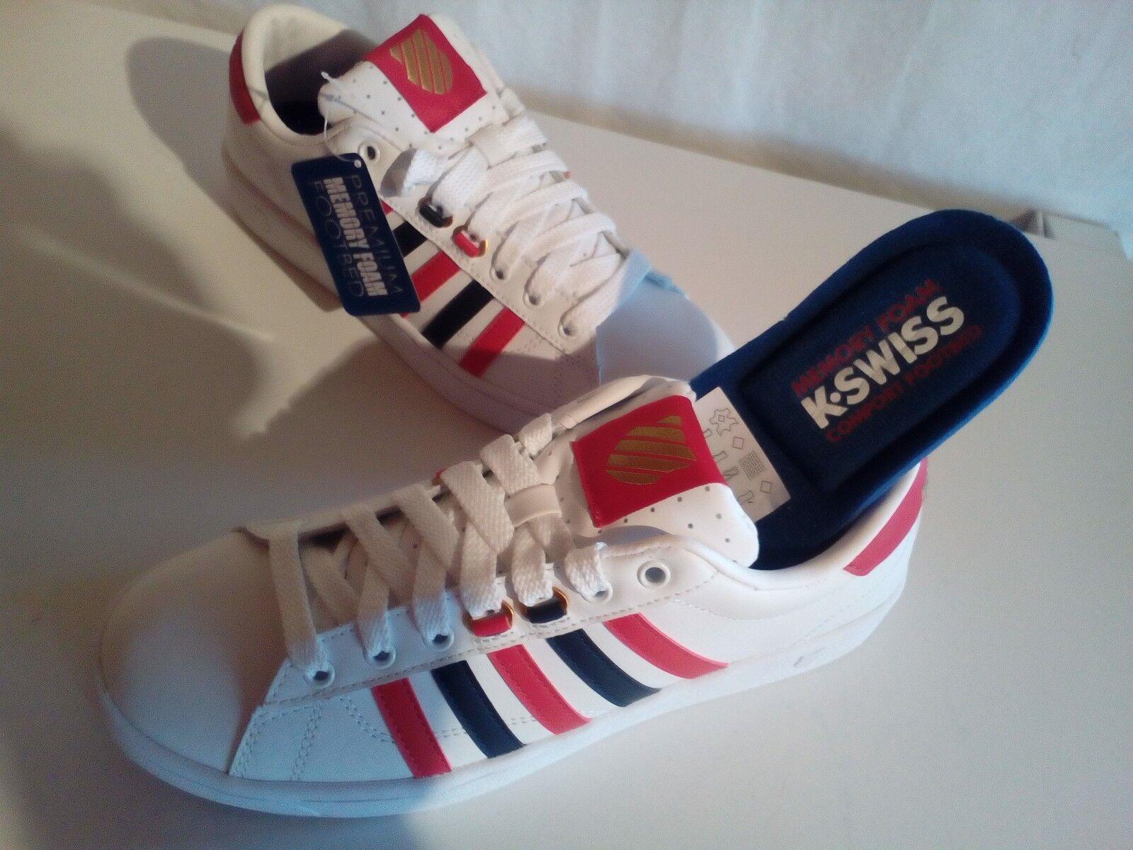 K-Swiss hoke CMF cuero calzado deportivo deportivo deportivo casual blanco-azul-rojo tamaño 40-41 nuevo 2aa843