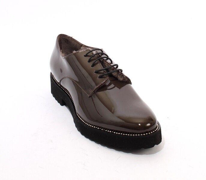 Luca Grossi 038a 038a 038a marrone Gris Patent Pelle Sheepskin Lace Up scarpe 38 1efe87