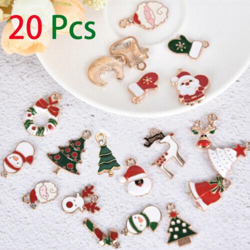 20Pcs mezclados de Aleación Esmalte Navidad Encantos Colgante Joyería Hágalo usted mismo Craft haciendo