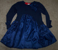 Boutique One Kid Navy Blue Satin/jersey Dress Ruffles S 2/3 Toddler Girls