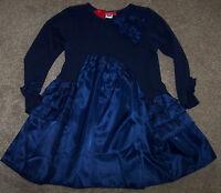 Boutique One Kid Navy Blue Satin/jersey Dress Ruffles S 2/3 Toddler Girls