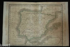 gravure carte Espagne Hispanie antique 1836 Atlas Delamarche España Portugal