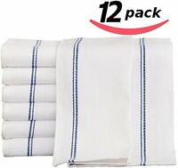 Kitchen-restaurant-hotel Dish-cloth Tea Towels - 12 Pack, White With Blue Side S on Sale