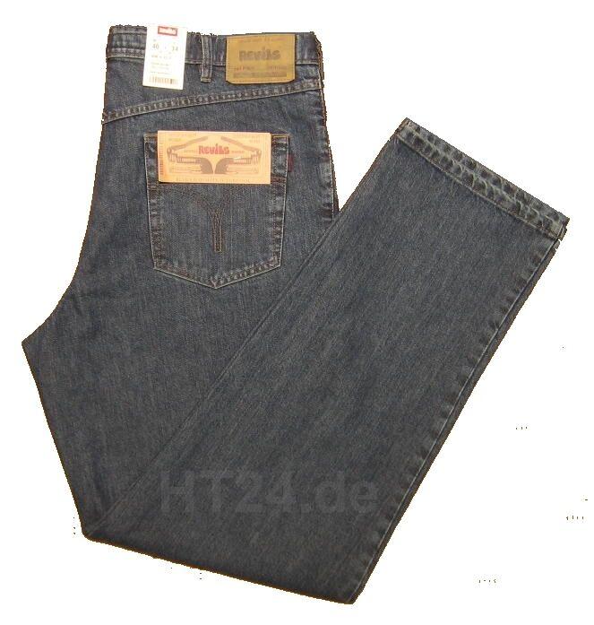 REVILS JEANS 606 V22 2 mittelblue Cotton W33 - W44 in Länge 40 Überlänge