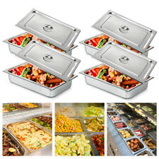 4 Pack 4deep Full Size Stainless Steel Steam Table Pans With Lids Hotel Food Prep