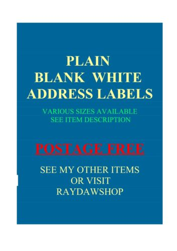80 x 80mm  LARGE PLAIN WHITE ADDRESS LABELS pack of 90