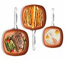 Gotham Steel 3 Piece Non-Stick Shallow Square Frying Pan Cookware Set