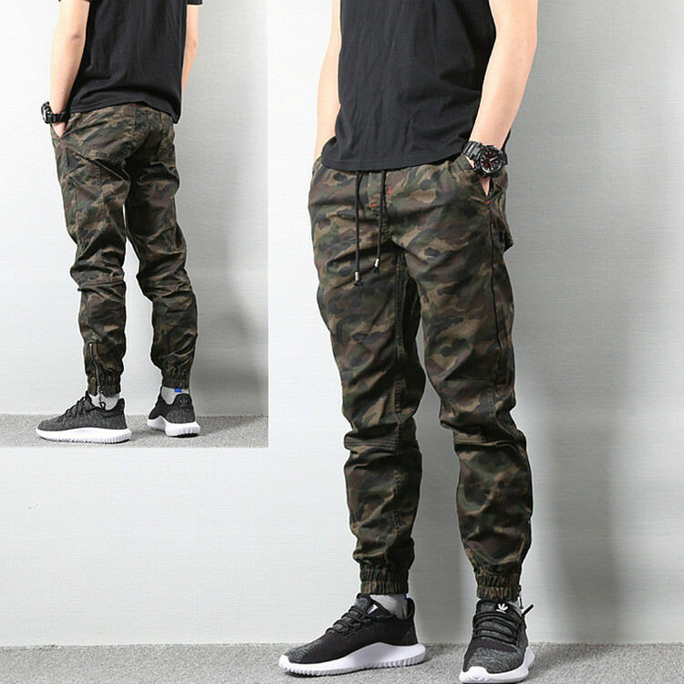 Men's Camouflage Jeans Motocycle Camo Military Slim Fit Jeans Lace Up Waist zhou