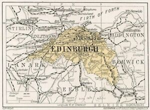picture about Printable Map of Scotland named Info above 1923 map of Scotland: outdated Edinburgh geared up-fixed antique print Magnificent