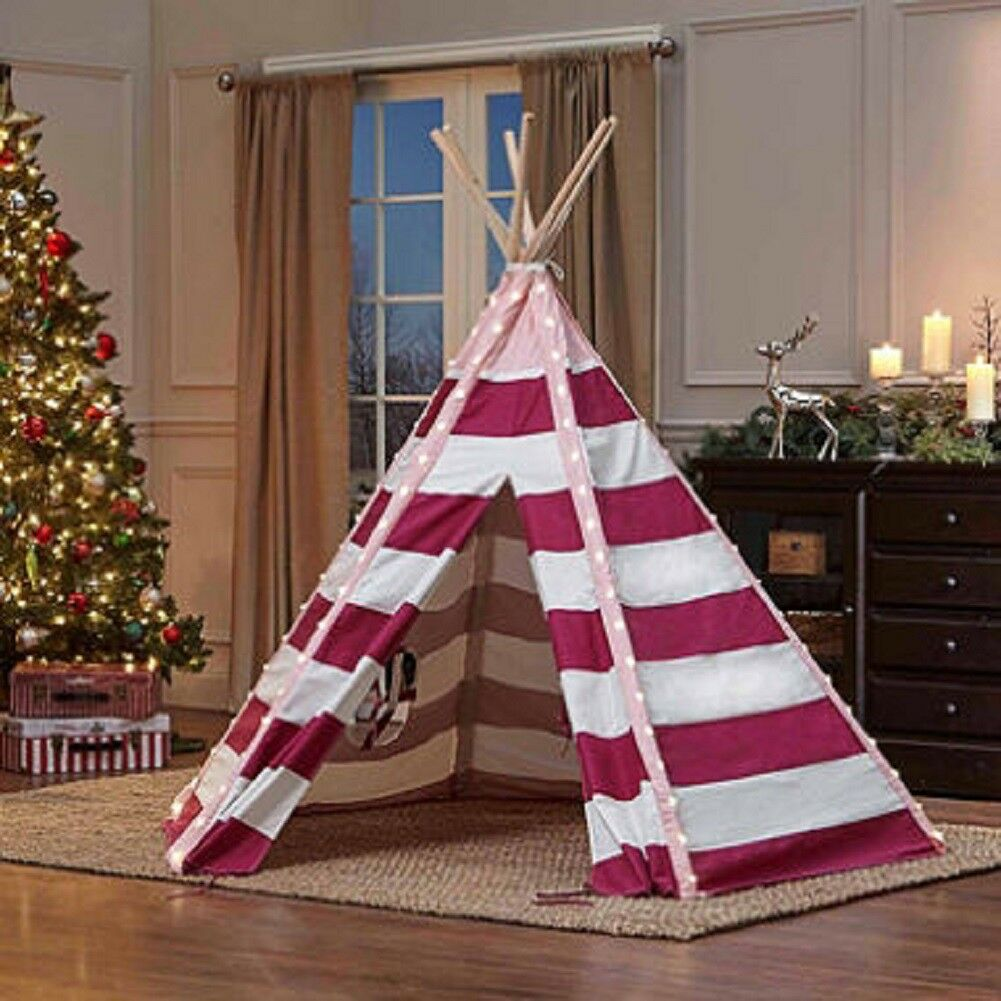TurtlePlay Kid's Pink Pink Pink Stripe 6 FT Tall LED Teepee 5fbc63