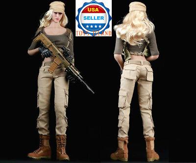 """1//6 Militaire Tactique Combat Costume Set 12/"""" pour Hot Toys Phicen figure féminine USA"""