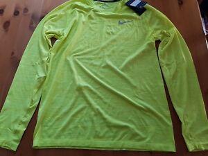 Nike Manche Longue Running Haut Fluorescent Jaune Taille L-afficher Le Titre D'origine