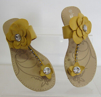 Savannah Chicas G6100 Amarillo Slip On Floral Y Diamante Sandalias Reino Unido 10 X 2 (KR)