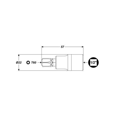 """Torxschlüssel T60 1//2/"""" L:57mm Bit-Einsatz Torx ohne Bohrung Steckschlüssel Nuss"""