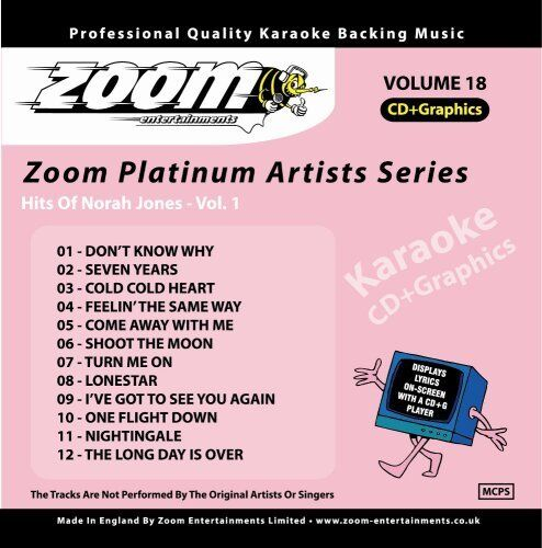 Zoom Karaoke Platinum Artists Series Volume 18 CD+G - Norah Jones (Vol.1)
