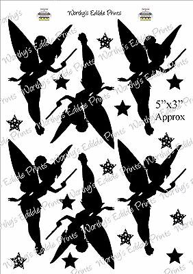 """6 x Make a Wish Tinkerbell Silhouette 5/""""x3/"""" with FREE little stars Edible Icing"""