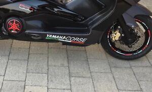 KIT COPPIA  ADESIVI SCRITTA YAMAHA CORSE  per T MAX 500-530-560 YAMAHA tmax MOTO