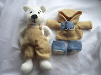 Polar Pete knitting pattern knitted polar bear in fisherman's outfit toy