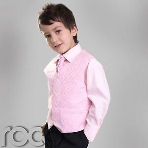 BOYS-BLACK-PINK-CRAVAT-WAISTCOAT-PAGEBOY-WEDDING-SUIT