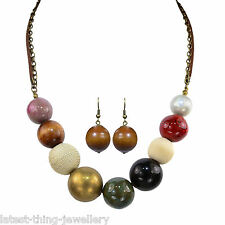 Red Gold Blue Necklace Earring  Wood Ceramic Fabric Bead Design