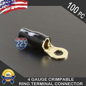 "4 Gauge Crimp Gold Ring Terminals Wire Cable Black Boots 5/16"" Stud Hole 100pcs"