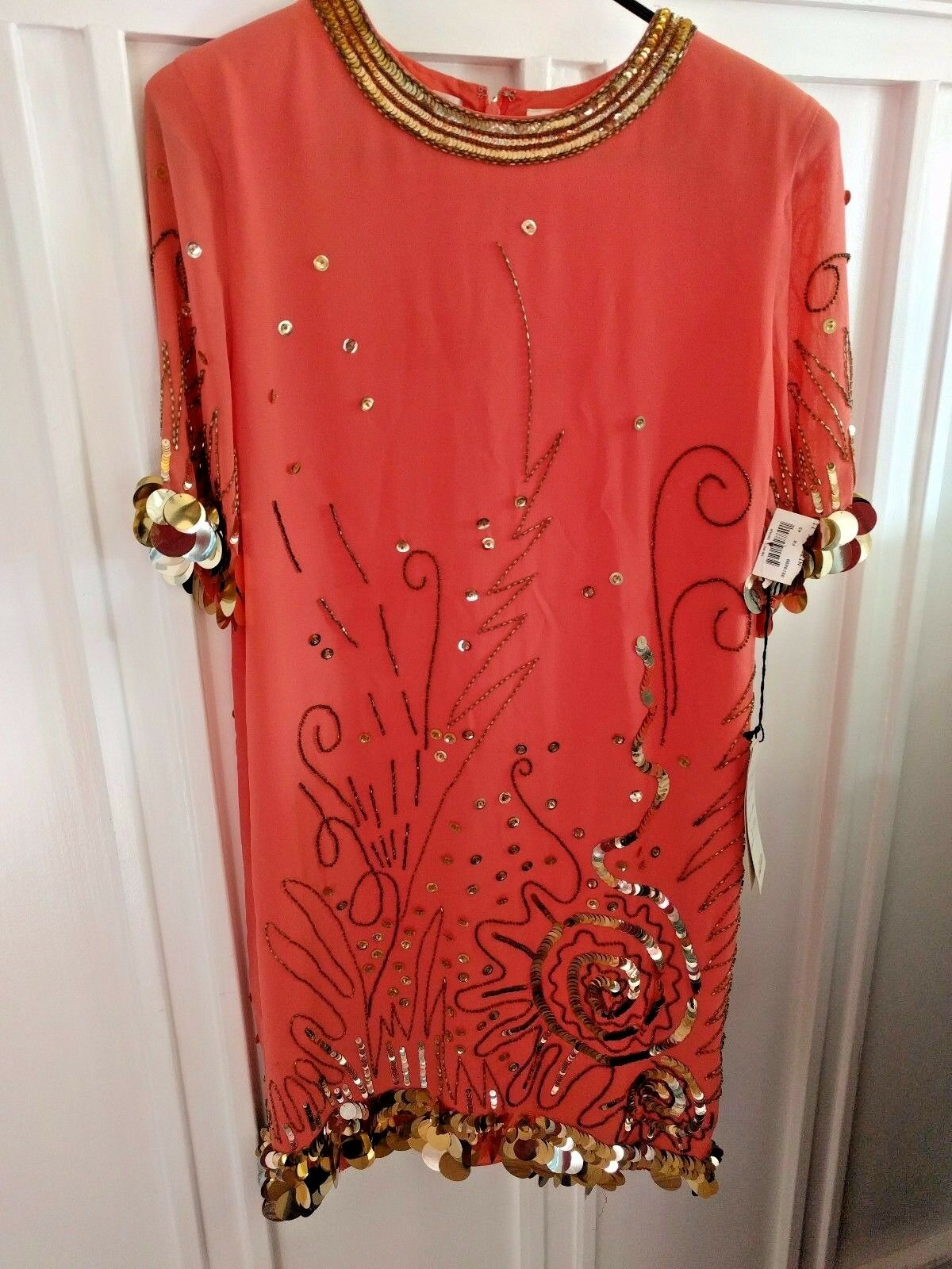 Vintage NEW w Tags Fabrice Silhouette Coral Silk Dress Beading & Sequins, Size 8