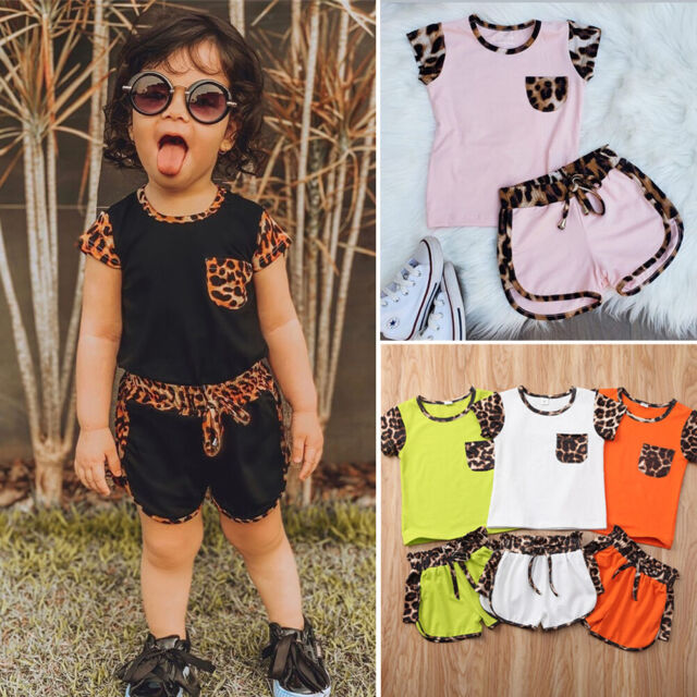 Toddler Kids Baby Girl Floral Outfits Clothes T-shirt Tops+Pants//Shorts 2PCS Set