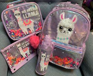 """f79e32136f28 Details about JUSTICE """"NO DRAMA LLAMA""""  BACKPACK/WATERBOTTLE/LUNCH/PENCILCASE SHAKE EM UP CUTE!"""
