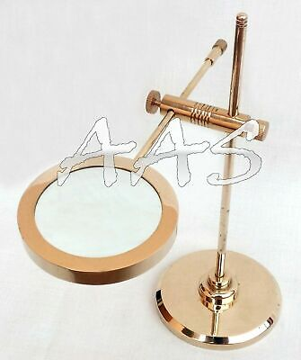 """11/"""" Brass Magnifying Glass Lens on Stand Nautical Vintage Office Desk Magnifier"""