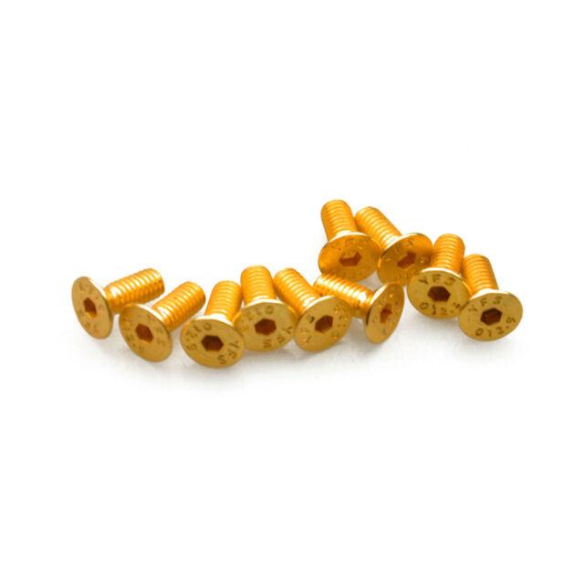 10Pcs M3 M4 Hex Socket Flat Head Screws Gold plate hexagonal Gold Boom Racing