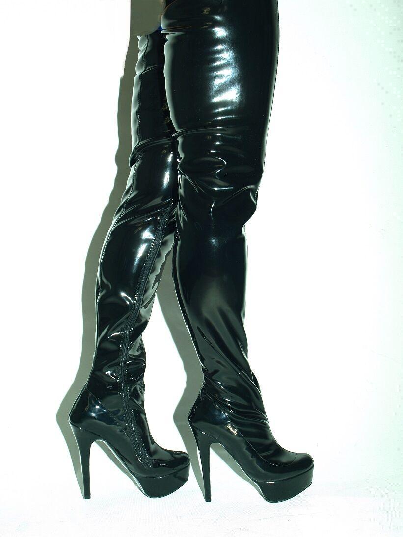 LACK PU STRETCH Stiefel SIZE fs 4-12- HEELS 6,5