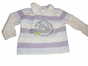 C-amp-A-tolles-Langarm-Shirt-Poloshirt-Gr-68-weiss-blau-lila-gestreift-mit-Hund