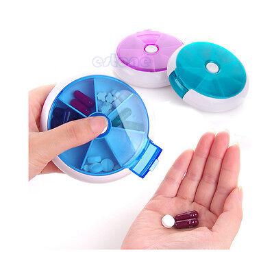 7-Day Round Medicine Pill Vitamin Box Case Storage Dispenser Organizer Holder