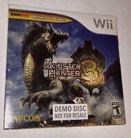 Monster Hunter 3 Tri - Nintendo Wii - Demo Disk - Game Stop - Sealed