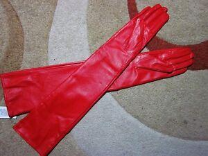 40cm-50cm-60cm-nouvelle-Mode-aux-femmes-rouge-long-Cuir-opera-gants-Gloves