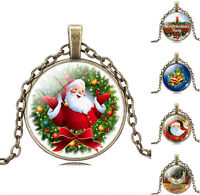 Christmas Jewelry Xmas Necklace Glass Cabochon Pendant Gifts Chain Necklace