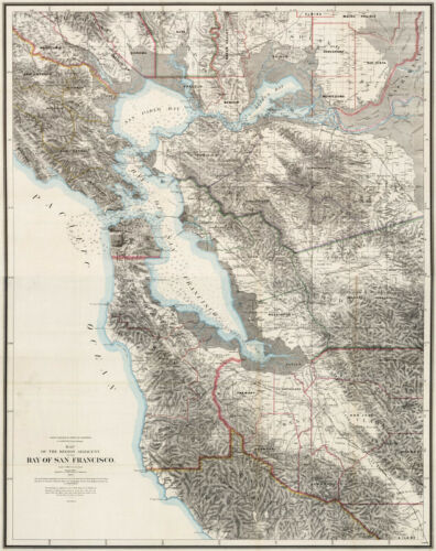 Map of Chart of Bay of San Francisco c1873 24x30