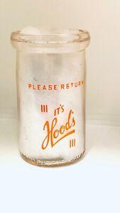 Vintage-Milk-Orange-Juice-Bottle-HOOD-039-S-Half-Pint-Glass-Bottle-Dairy
