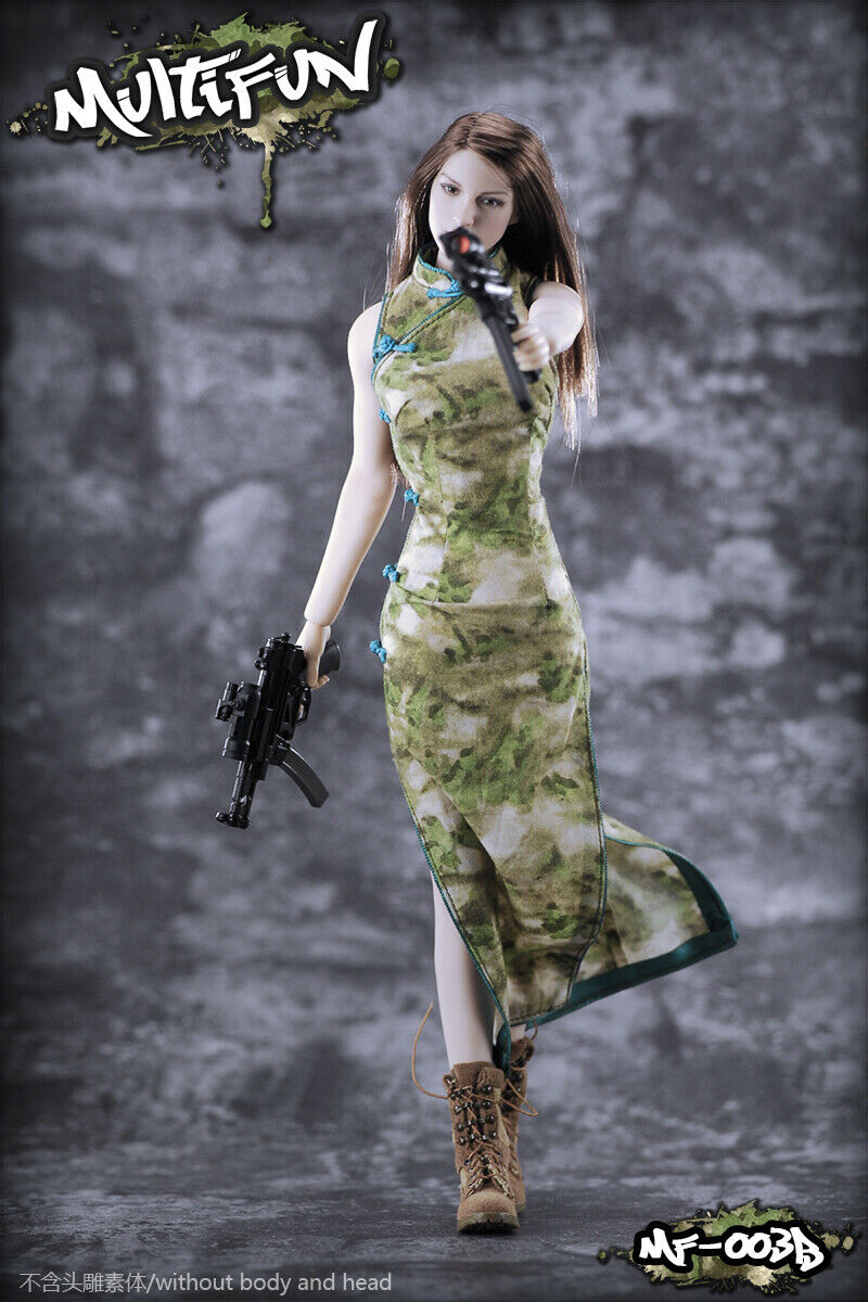 MULTIFUN 1 6 Scale Camouflage cheongsam Suit Cloth For 12'' Female Action Figure