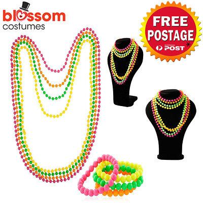 80s Neon Beaded Bracelets 4 Fluorescent colours 1980s accessory