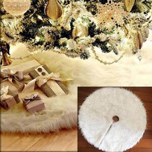 Christmas-Tree-80cm-Long-Snow-Plush-Skirt-Base-Floor-Mat-Cover-Xmas-Decor-White