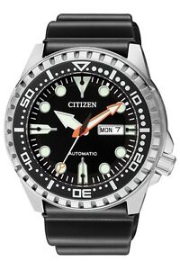 CITIZEN-NH8380-15E-Automatic-Analog-Day-Date-Black-Stainless-Steel-Men-039-s-Watch