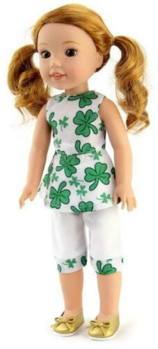 """St Patrick/'s Day Outfit fits 14.5/"""" American Girl Wellie Wishers Doll Clothes"""