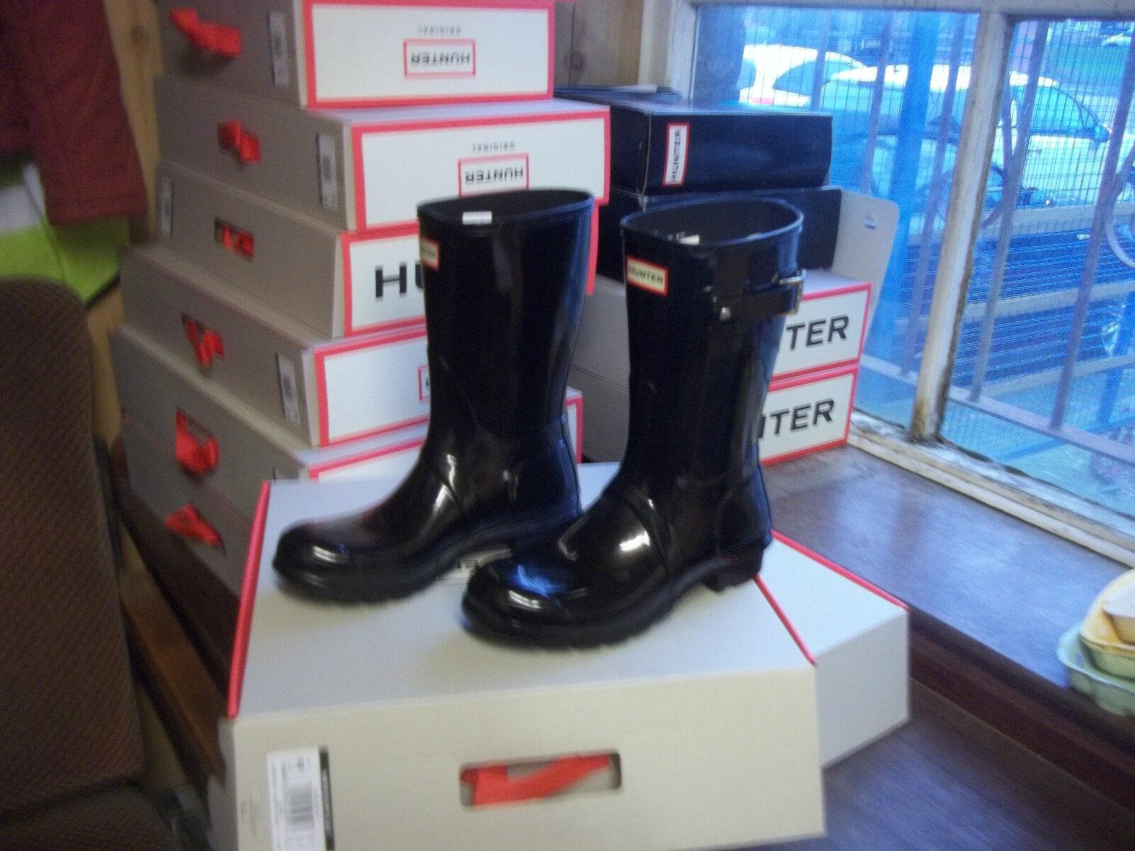 Zapatos especiales con descuento GLOSS HUNTER WELLINGTONS IN HALIFAX & BRADFORD  SIZE 5 BLACK  SHORT LADIES