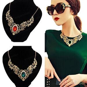 Moderno-Mujer-Cristal-Chapado-En-Oro-Estampado-Floral-Gargantilla-Collar-Babero