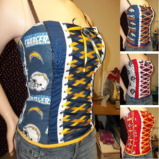 DIY NFL Football  Team Corsets Strapless Size Large