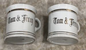 Laughlin-TOM-AND-JERRY-GOLD-AND-WHITE-Mug-Cup-Hand-Painted-Vintage-Japan-2-Pc